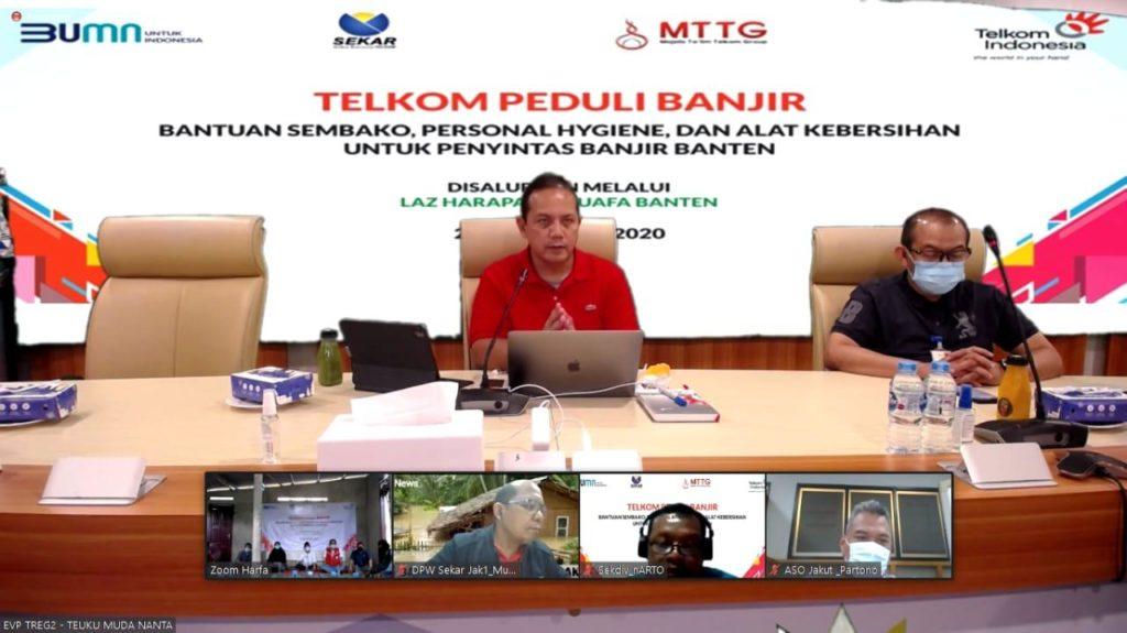Salurkan Bantuan Kepada Penyintas Banjir Banten, Telkom Regional II, Sinergi dengan LAZ Harfa